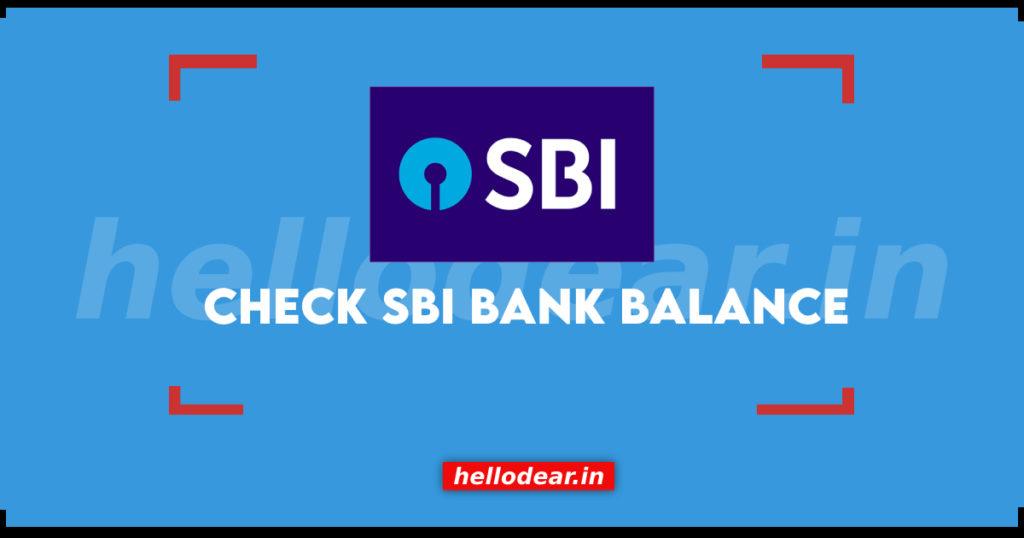 sbi bank balance check